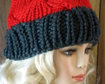 Hand Knit Chunky Cables Hat Fashion Beanie for Women Gray Brim-Red Crown