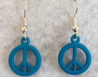 Peace Sign Earrings, Teen Earrings, Teen Jewelry, Charm Earrings, Dangle Earrings, Spring Earrings, Summer Earrings, Blue