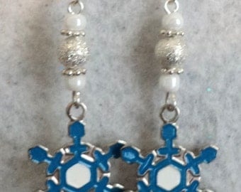 Snowflake Earrings, Charm Earrings, Dangle Earrings, Winter Earrings, Winter Jewelry, Blue and Silver, Snowflake Jewelry - LET IT SNOW