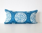 Johara Luna medallion 8x16 blue aqua teal mini lumbar pillow cover