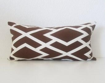 Brown white lattice 8x16 mini lumbar pillow cover
