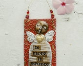 Polymer Clay Mixed Media Angel Wall Hanging - Be Happy In Advance