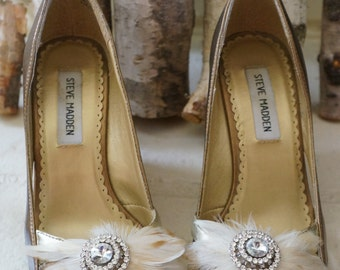 Romantic Bridal Feather Rhinestone Pearl Wedding Keepsake STARLA Shoe Clips Creamy Ivory, Or Any Color Available for the Bridesmaids