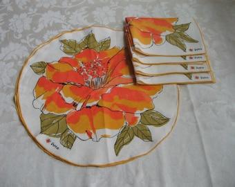 SALE Vintage VERA Neumann Round Placemats & Napkins 8 Piece Set, Floral Orange Yellow Flowers Ivory Linen, Ladybug Logo