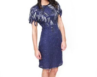 Marina, Vintage, Navy Blue Sequin Mini Dress, from Paris