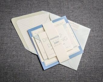 "Modern Blue Wedding Invitation, Calligraphy Wedding Invitations, Cornflower Blue Winter Wedding Invites - ""Modern Calligraphy"" FP-2L-v2"