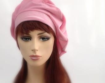 702-11 Pink Velvet Beret, French Beret, Large Beret, Slouchy Hat,