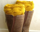 Mustard Boot cuffs - Yellow Leg Warmers - Cable knit boot toppers - Winter Fashion Winter Acessory - Spring Fashion 2016