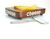 Vintage Small Cheese Cutting Board - CHEESE - Wooden - Mid Century