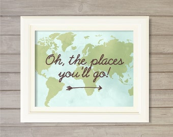 Oh, The Places You'll Go! World Map -8x10- Dr. Seuss Atlas Travel Instant Download Digital Printable Poster Print Typography Home Wall Art
