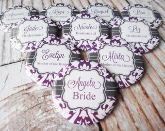 Pocket Mirrors Personalized For You Great Bridesmaids Gifts- Purple Bracket Damask