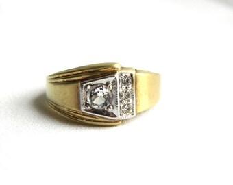 Vintage Mens Brushed Gold Rhinestone Ring - Dinner Ring - Size 10