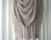 CAPPUCCINO Hand Knit Shawl Triangle Scarf Fringes in Anti Pill Acrylic / beige tan knit scarf shawl /  Eggplant, Black, White, Cream shawl
