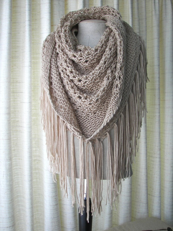 CAPPUCCINO Hand Knit Shawl Triangle Scarf Fringes in Anti Pill Acrylic / Beige, Eggplant, Black, White Cream knit Wrap / Bridal shawl