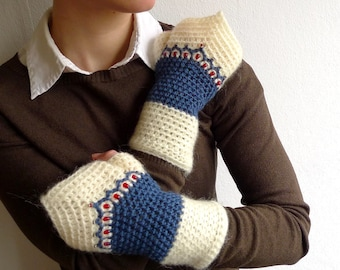 Fingerless Mittens, Crochet Driving Gloves, Fairy Mittens - DuoTone Ivory / Blue Wool, Mohair - Beaded Ornament - Bohemian Psytrance Fashion