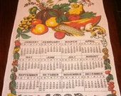 1983 Linen Calendar Tea Towel Vintage Kitchen Textiles Fruits and Vegetables