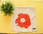 Poppy Flour Sack Towel - Deluxe Natural Tea Towel - Hand Screen Printed - Great summer hostess gift