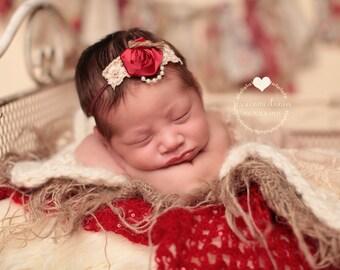 Newborn Maroon Flower Headband, RTS, Maroon Headband, Maroon Flower Headband, Burgundy Headband, Baby Girl Headband, Maroon, Tan, Ivory