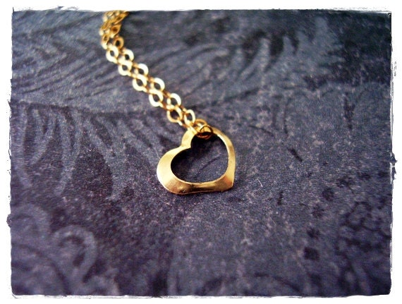 Tiny Gold Floating Heart Necklace Gold by EvelynMaeCreations