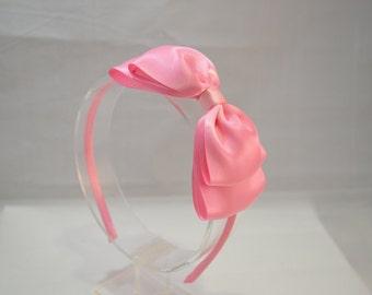 Pink Bow Headband/ Big Pink Satin Bow/ Girls Hair Accessories/ Adult Hair Accessories/ Pink Headband/ Flower Girl Headband. Pink Satin Bow