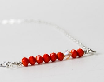Dainty Necklace Layer, Minimal Red Necklace, Handmade Red Necklace, Dainty Small Necklace, Minimal Necklace, Crystal Necklace, Red and Gold