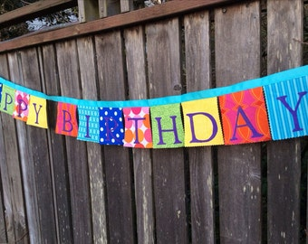 Birthday Banner Party Decoration Bold and Bright Fabric Prints Happy Birthday Hand Painted Purple, Blue, Pink, Green, Turquoise, Red, yellow