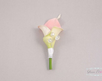 Pink Calla Boutonniere. Real Touch. AB glass crystals, Calla Lilies in Orange Yellow Purple Lilac Lime Green Cream White Ivory