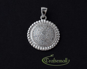 Clearance: 1 Sterling silver pendant with cubic zirconia - ZMPD002W