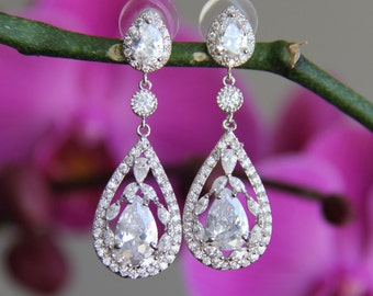 Sparkle filled cz earrings, cubic zirconia earrings, wedding jewelry, bridal jewelry, wedding earrings, bridal earrings