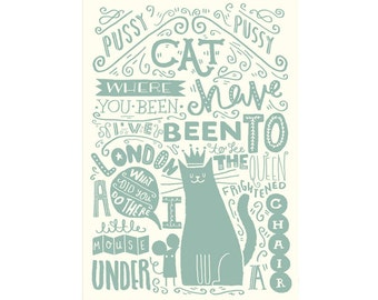 "A3 Art Print - ""Illustrated Nursery Rhyme: Pussy Cat, Pussy Cat"" - Art Print / Typography / Hand Lettering"