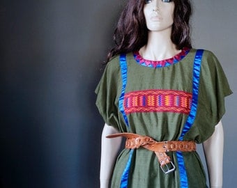 Vintage one-of-a-kind ETHNIC BOHEMIAN Mexican Oaxaca peasant tunic TOP