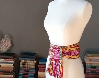 Vintage bohemian handwoven WIDE belt SASH with fringes