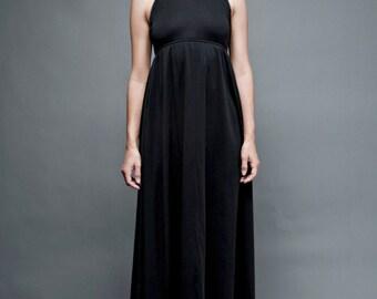 SALE vintage 70s maxi dress XS empire black turtle neck sleeveless metal trims extra small teen