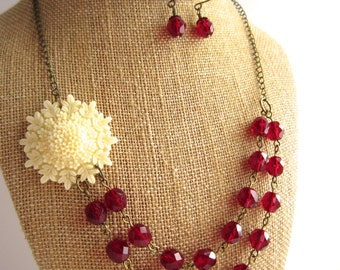 Red Statement Necklace Snowflake Necklace Double Strand Flower Necklace Christmas Jewelry Red Czech Glass Beads Holiday Jewelry