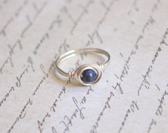 Gemstone Sterling Silver Wire Wrapped Ring - Choose Your Gemstone