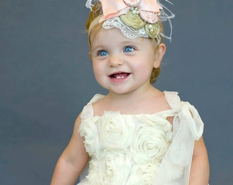 Pink and Gold Handmade Couture Headband - Silk and Satin Couture Headband - Light Pink Gold Lace and Pearl Headband - Pink and Gold Birthday