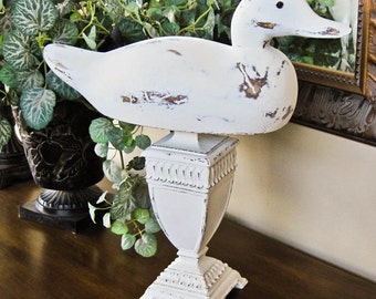 Duck Decoy Repurposed on Pedestal Hand Painted and Distressed Coastal Cottage Beach Decor Shelf Sitter