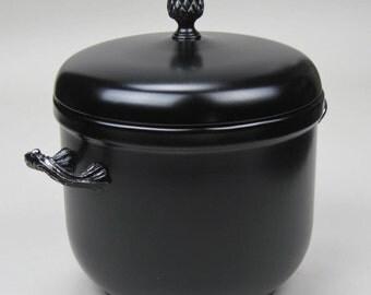 Black Ice Bucket Refurbished Silver Plate Hand Painted by OlliesFineThings