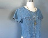Cropped Denim Shirt, Jean Shirt, Button Up, Grunge