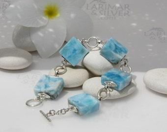 Larimar bracelet size 7.5 by Larimarandsilver, Path of the Fairies - sky blue Larimar tiles, square bracelet, marbled blue, beachy handmade