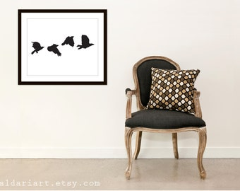 Crows Digital Art Print - Black Birds Wall Art - Nature Art Decor - 16x20 Art Print