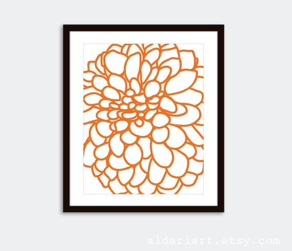 Dahlia Wall Art - Modern Dahlia Flower No. 1 Art Print - Tangerine Orange - Modern Autumn Flower Wall Art - Contemporary Home Decor -