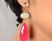 LP 1094  Hot Pink Chalcedony And Moonstone OOAK Drop Earrings