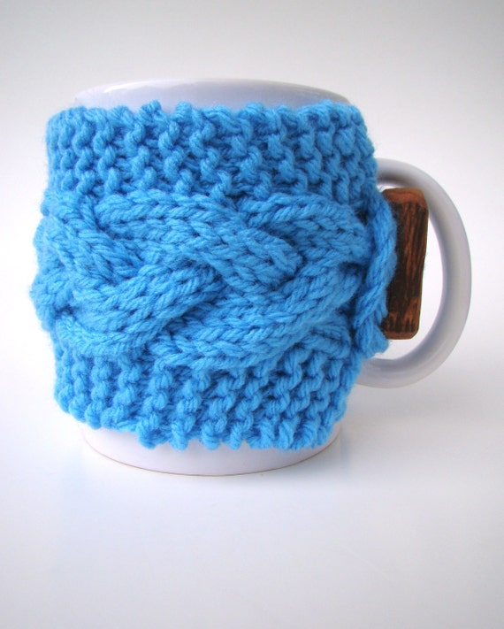 Knitting Pattern For Mug Sweater : Knit Cozy and MUG Set Cable Pattern Mug Sweater Mug by ...