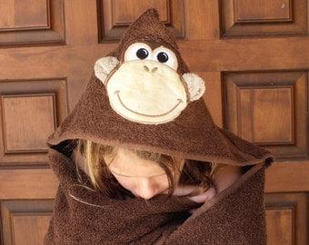 Monkey hooded towel girl hooded towel boy hooded towel  personalized hooded towel kids hooded towel child's hooded towel beach towel