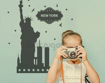 New York City Skyline Wall Decals - NYC Skyline Wall Sticker - Manhattan Skyline Wall Decal - Statue of Liberty Wall Decal - LSWD-0142