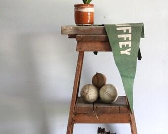 vintage tiered wood shelf / industrial standing pyramid shelving / bookshelf, furniture