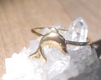 Dolphin Ring, Dolphin knuckle Ring, Layering  Ring, Above Knuckle Ring, Midi Ring, beach ring, ocean ring, mermaid ring, gold brass ring