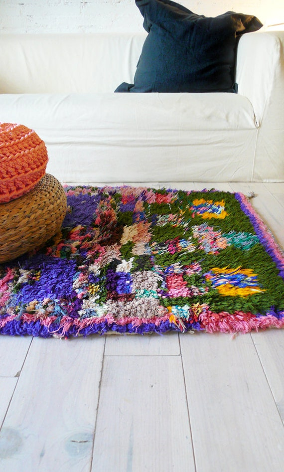 "Vintage Moroccan Rag Rug - BOUCHEROUITE ""abstract"""