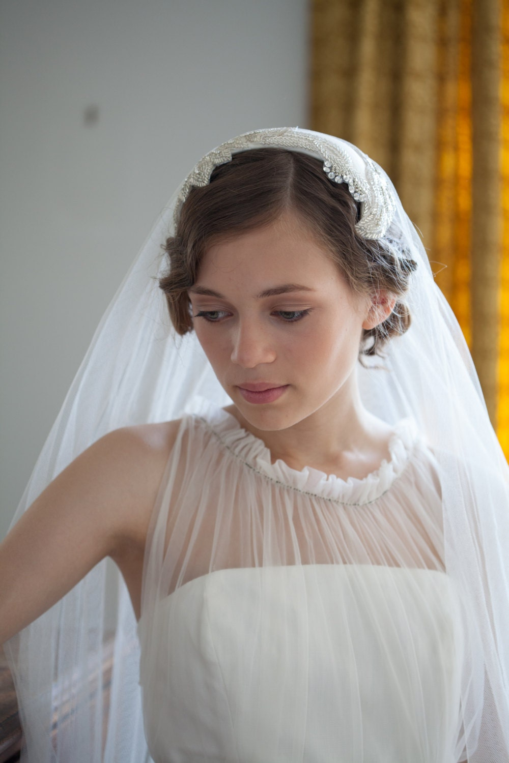 Wedding headpiece and veil vintage style bridal headpiece for Wedding dress with veil